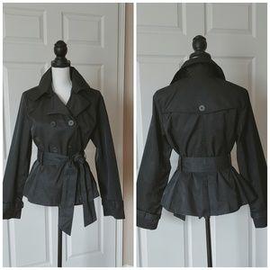 Anthro Black Rivet short trench coat black sz L
